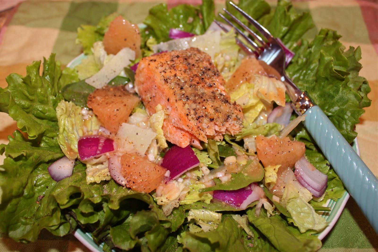 Blood Orange Vinaigrette on Salmon Salad - La Bella Vita Cucina