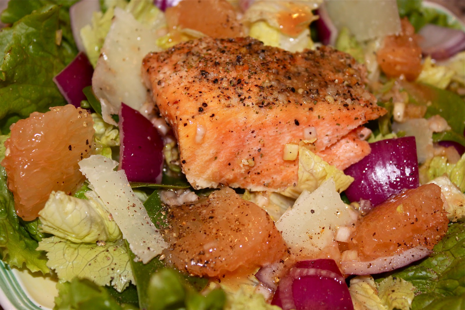 Blood Orange Vinaigrette on Salmon Salad - La Bella Vita Cucina