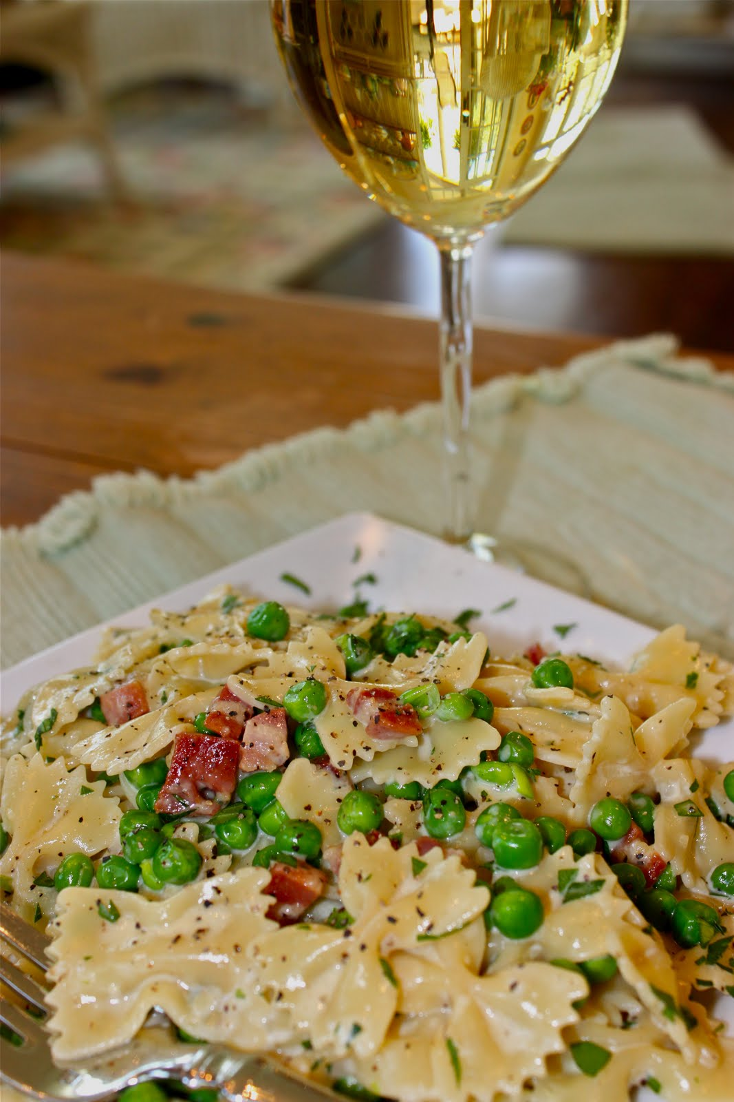 Farfalle Carbonara with Pancetta and Peas - La Bella Vita Cucina