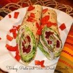 turkey, pesto and sun-dried tomato wrap