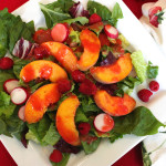 Fresh Peach Salad with Raspberry Viniagrette