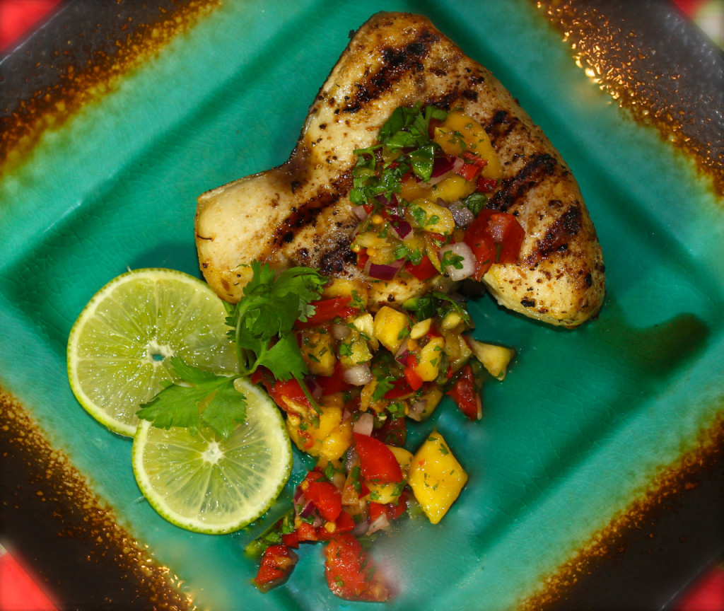 Super and Easy Mango Pineapple Salsa with Grilled Swordfish