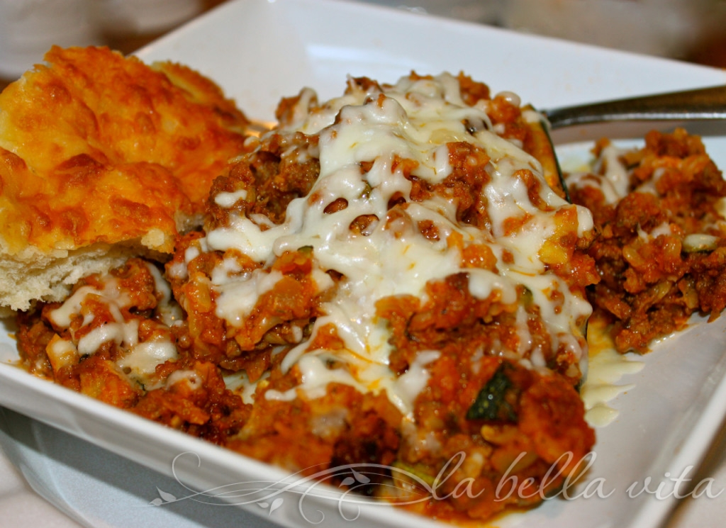 Stuffed Zucchini with Bolognese Sauce