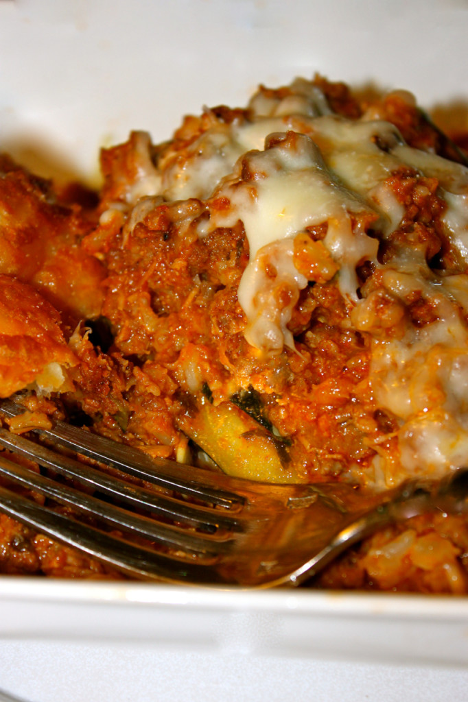 risotto stuffed zucchini with bolognese sauce