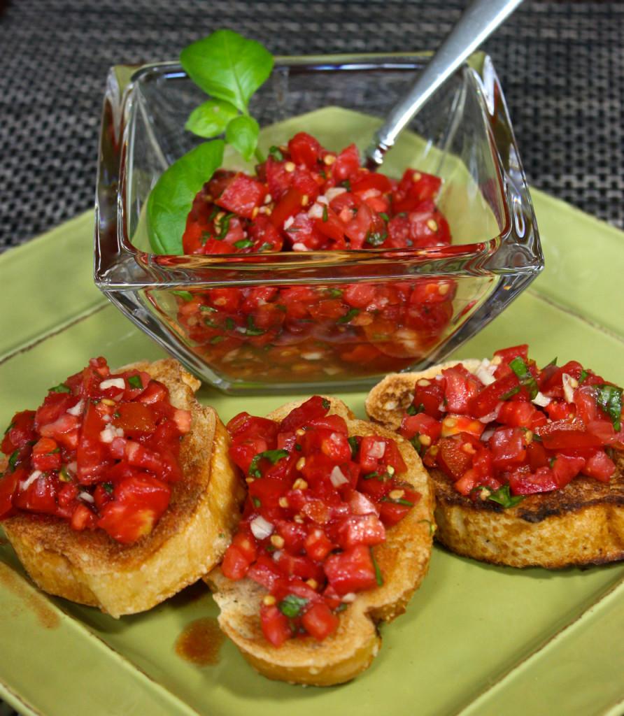 Classic bruschetta with tomatoes basil and garlic la for The bella vita