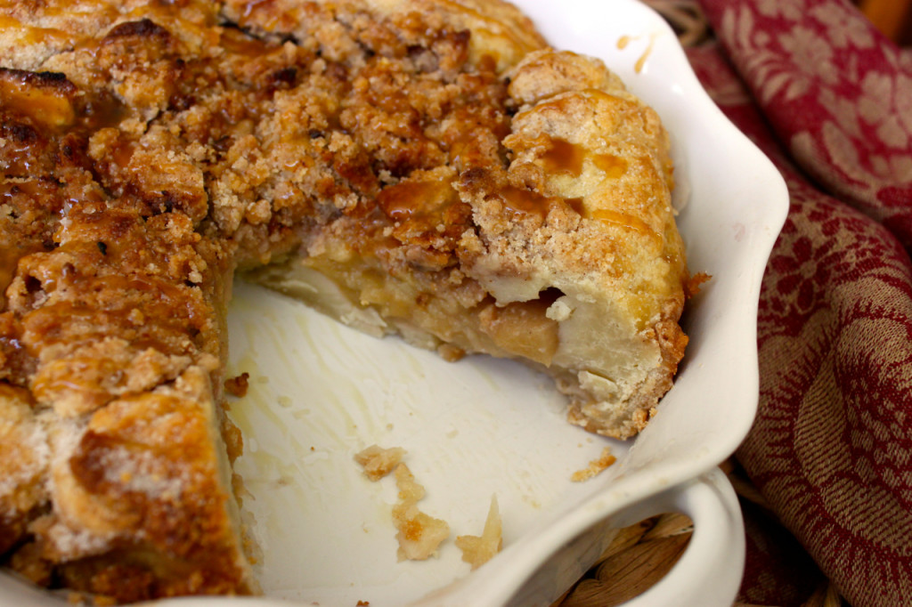 rustic apple crostata with caramel streusel topping