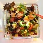 salmon and mixed greens salad