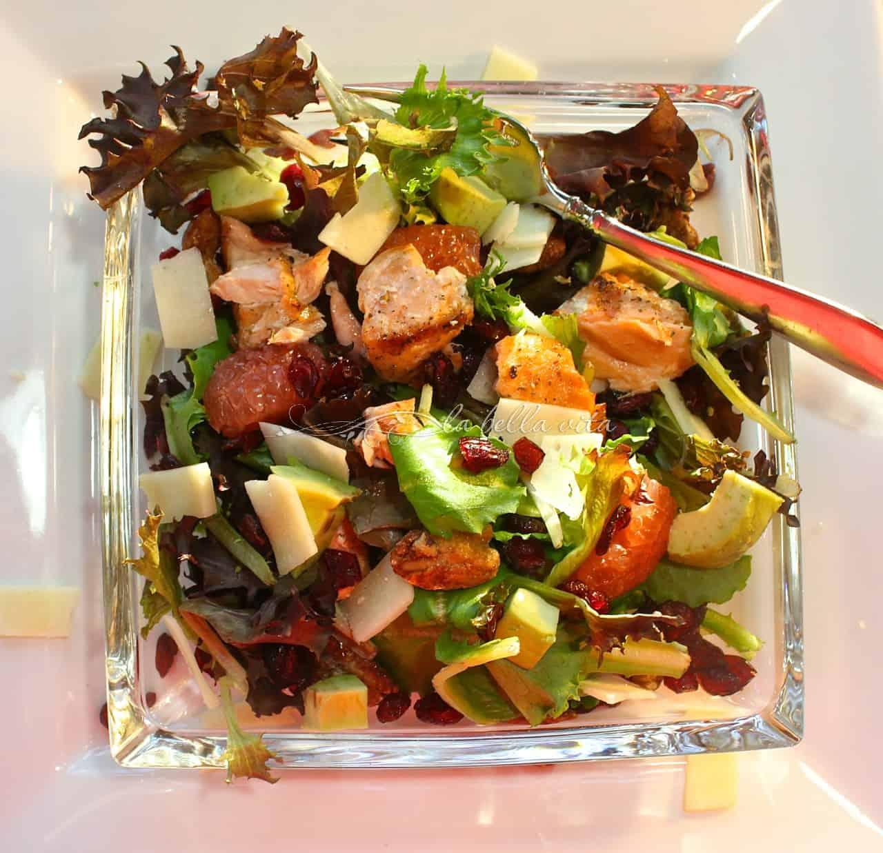 salmon and mixed greens salad