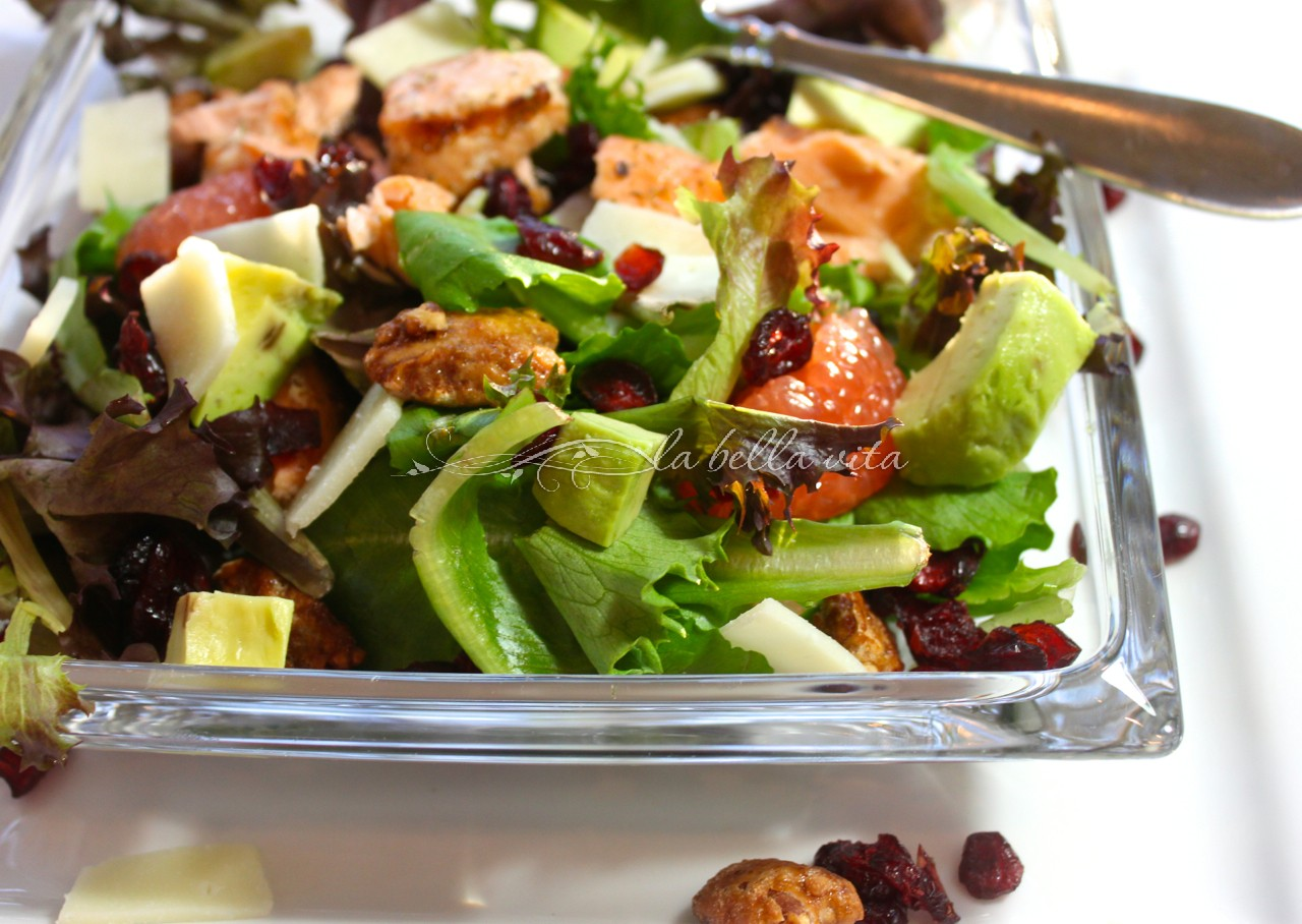 grilled salmon with mixed greens salad