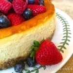 Italian Ricotta and Mascsarpone Cheesecake with Raspberry Almond Crust