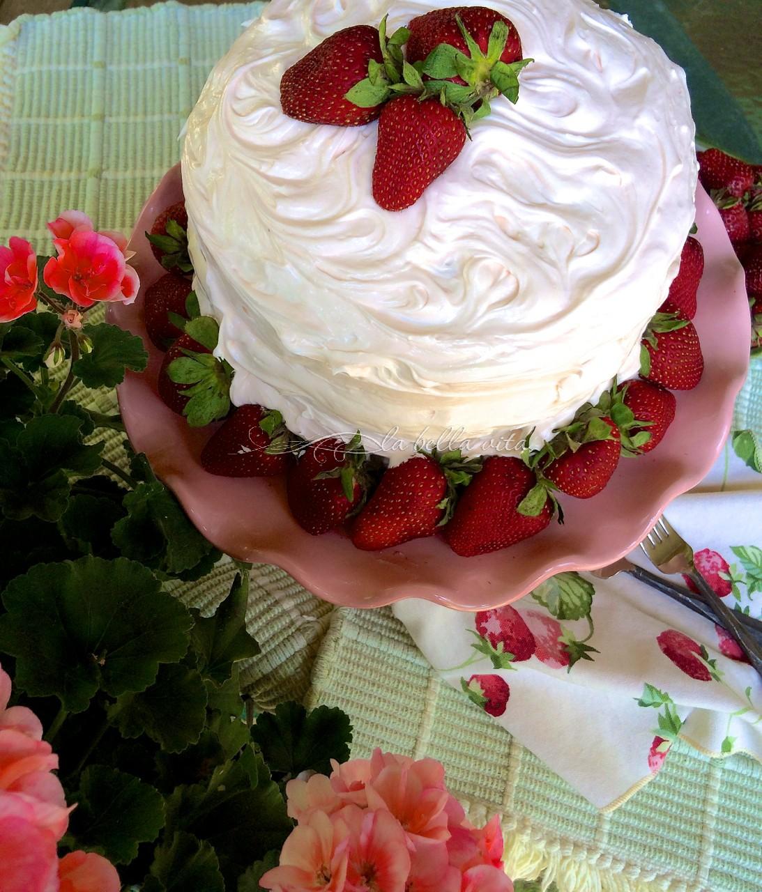 Strawberry Layer Cake with Italian Meringue Buttercream ...