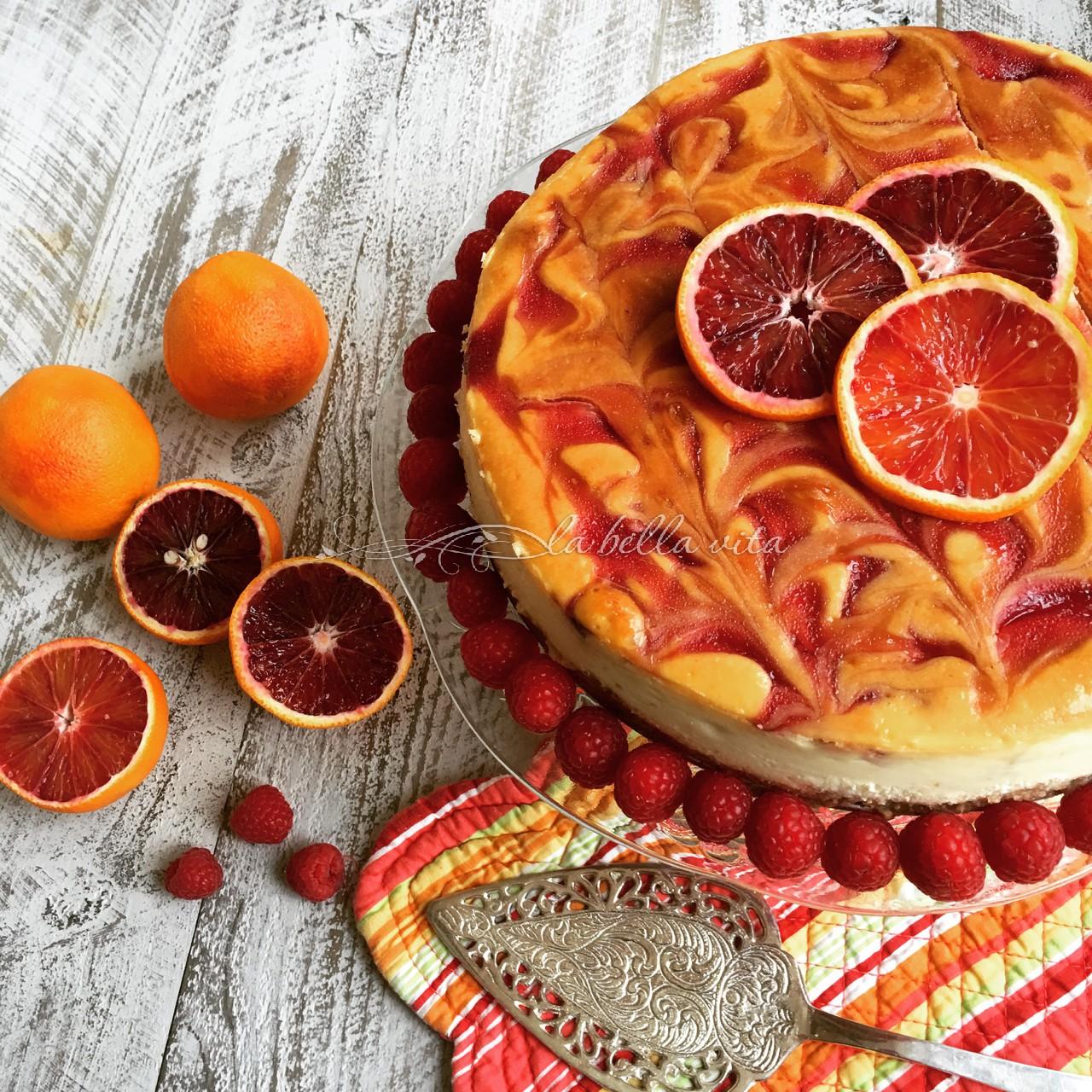 Blood Orange and Raspberry Swirl Cheesecake - La Bella Vita Cucina