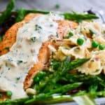 Salmon, Peas, Asparagus and Pasta in Lemon Caper Cream Sauce