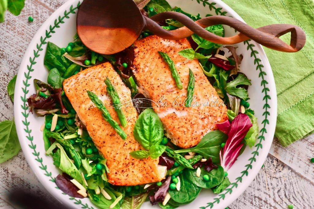 salmon peas asparagus pasta lemon cream sauce