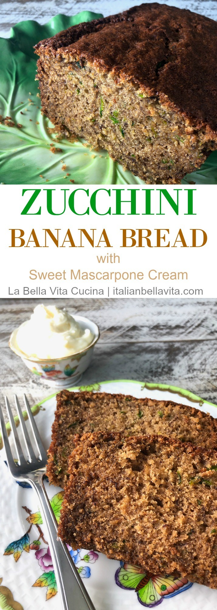Zucchini Banana Bread with Sweet Mascarpone Cream